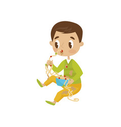 cute boy eating messy hoodlum cheerful kid bad vector image