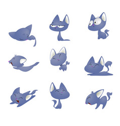Cute cartoon cat in different poses vector