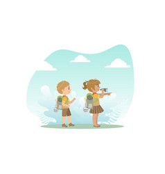 cute kids in explorer outfit hiking girl looking vector image