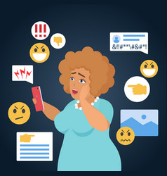 cyber bullying people cartoon vector image