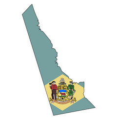 Delaware state outline map and flag vector