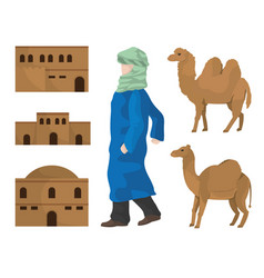 Desert houses camels and arab vector
