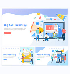 Digital and email mobile marketing working people vector