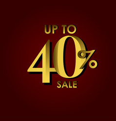 Discount sale label up to 40 red gold template vector