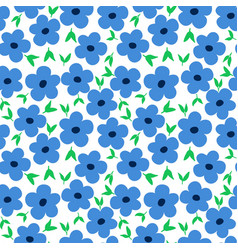 Ditsy floral pattern with cute small blue flowers vector