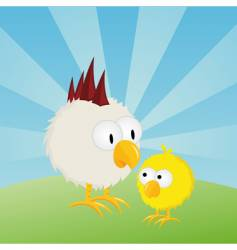 Easter chick and rooster vector image