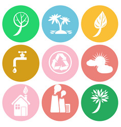 ecology themed round colorful isolated icons set vector image