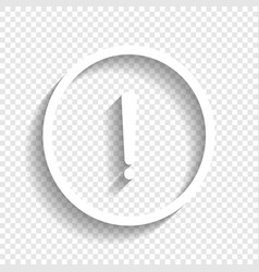 Exclamation mark sign white icon with vector