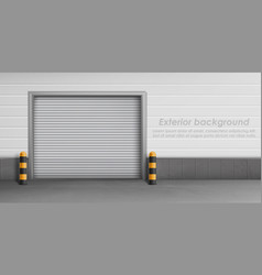 Exterior background with closed garage door vector