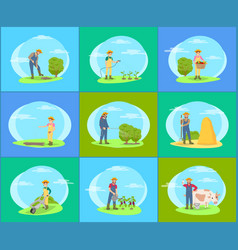 farmer taking care plants and animals on farm vector image