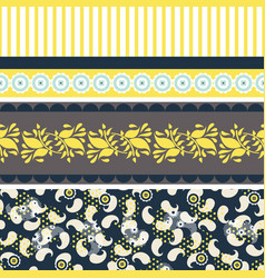 folk floral blue and yellow seamless vector image