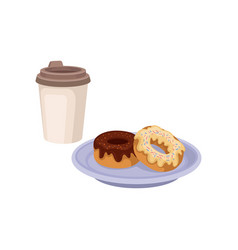 Fresh coffee in plastic cup and two sweet donuts vector