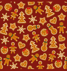 Gingerbreads on dark red background vector
