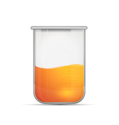 glossy realistic chemical flask with bright orange vector image