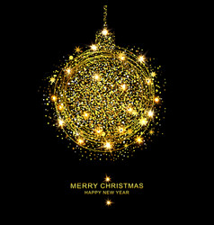 Golden christmas ball of sparkles vector