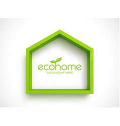 green frame in shape house on white background vector image