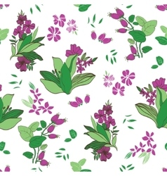 Green Purple Floral Garden Seamless Pattern vector