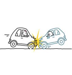 Hand drawn cartoon characters - car crash vector