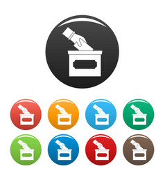 Hand put election box icons set color vector