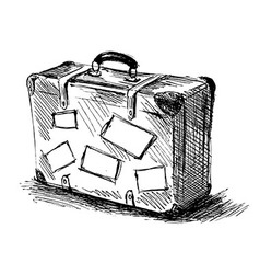 Hand sketch travel suitcase vector