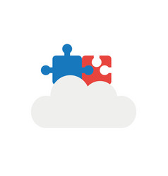 icon concept of two connected jigsaw puzzle vector image