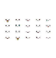 Kawaii cute faces smile emoticons japanese emoji vector