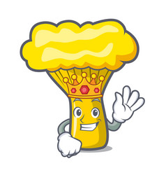 King chanterelle mushroom mascot cartoon vector