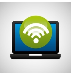 laptop icon wifi social media vector image