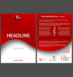 Leaflet template with red wavy background vector