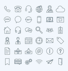Line contact us icons vector