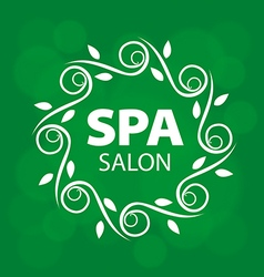 Logo with a vegetative ornament on a green vector