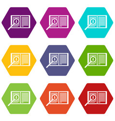 magnifying glass over open book icon set color vector image