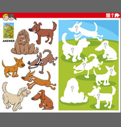 Matching shapes game with cartoon dogs characters vector