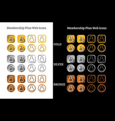Membership plan web icon design in gold silver vector