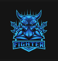 monster fighter club e sports logo vector image