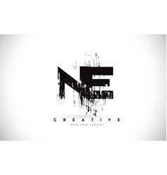 Ne n e grunge brush letter logo design in black vector
