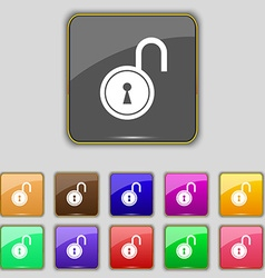 Open lock icon sign Set with eleven colored vector