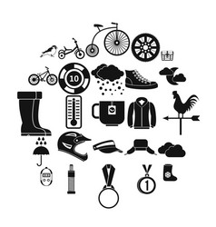 outdoor sports icons set simple style vector image