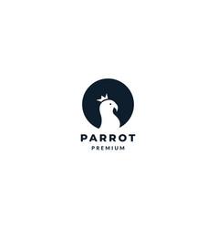 Parrot or lovebird on circle silhouette logo vector