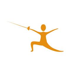 People practicing fencing icon vector