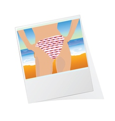 Photo frame with girl vector