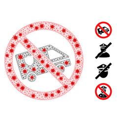 Polygonal mesh forbidden patrol car pictograph vector