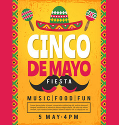 poster mexican fiesta design template party vector image