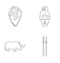 Primitive woman man cattle stone age set vector