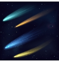 Realistic color meteor asteroid comet in vector image