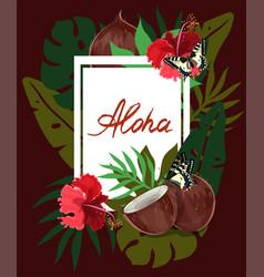 Rectangle aloha tropical leaves hibiscus vector