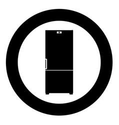 refrigerator icon black color in circle vector image