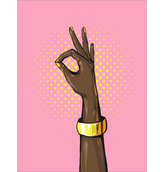 retro pop art african womans hand showing ok sign vector image