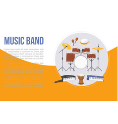 Rock or jazz musical band instruments banner vector