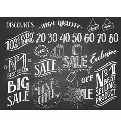 Sale hand-lettering chalkboard set vector image